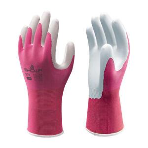 SHOWA 370 Lightweight Gardening Gloves Grippy Palm Breathable Liner Pink