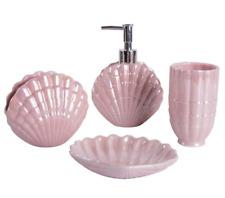 3D Sea Shell Pink Bathroom accessories set Soap dish Dispenser Tumblers Ceramic