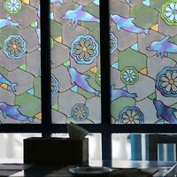 1.5M Dolphin Flower Privacy Stained Glass Double Side Window Glass Cling Film