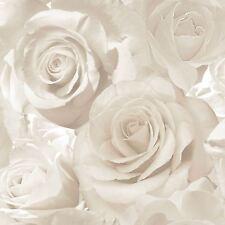 MADISON ROSE GLITTER FLORAL WALLPAPER PEARL / CREAM - MURIVA 139524