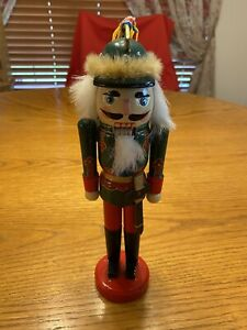 """Vintage Wooden Nutcracker Soldier Holiday Christmas Decor 10"""""""