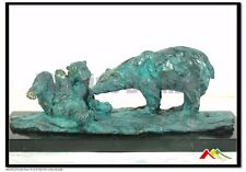 MOTHER BEAR PLAYING WITH HER CUB BRONZE STATUE Signed Milo