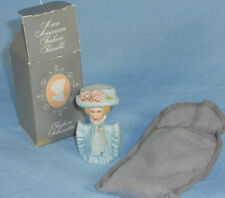 AVON Fashion Thimble Lady Dressed in Light Blue with Hat c.1982 with Box