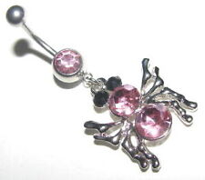Belly Bar Dangle Pink Spider 14g 316 Stainless Steel