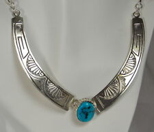 """HSN Chaco Canyon Southwest Turquoise Sterling Silver Necklace 18"""" Navajo Artist"""