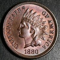 1880 INDIAN HEAD CENT - BU UNC - With CARTWHEELING MINT LUSTER!