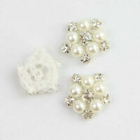 5Pcs Rhinestone Faux Pearl Flower Appliques Trim Sewing Iron On Clothes Decor