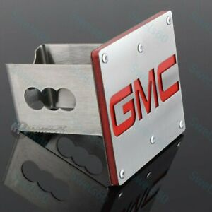 """For GMC Logo Brushed StainlessSteel Hitch Cover Plug For 2"""" Trailer Tow Receiver"""