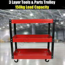 3 Tier Tool Cart Parts Storage Warehouse Workshop Trolley Heavy Duty Castors