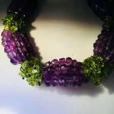 Sterling Silver Faceted Amethyst and Peridot Chip Bracelet