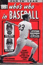 1991 Who's Who in Baseball magazine,Ryne Sandberg, Nolan Ryan, Cecil Fielder~Gd