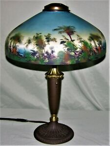 VINTAGE ANTIQUE PITTSBURGH OBVERSE PAINTED TABLE LAMP - CIRCA EARLY 1900's
