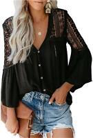 FARYSAYS Women's Sexy V Neck Lace Crochet Long Sleeve, Black, Size XX-Large mf3e