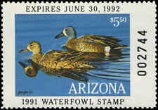 ARIZONA #5 1991 STATE DUCK STAMP  BLUE WINGED TEAL by Brian Jarvi