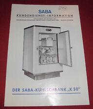 dachbodenfund alt werbe prospekt heft saba kühlschrank k 50 1951 reklame werbung