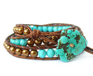 Blue Magnesite Bronze Pearl natural distressed leather 3 wrap beaded bracelet