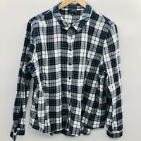 The Limited Womens Size XL Plaid Long Sleeve Button Down Shirt White Blue 564