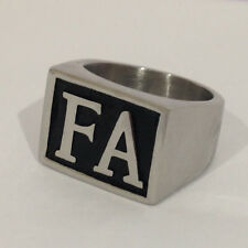 USA Seller Men's Stainless Steel FA Initial Letter Biker Ring Size 8-14 SR178