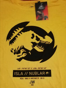 °OFFICIAL JURASSIC WORLD ISLA NUBLAR T-SHIRT ° Men's gelb/schwar T-Shirt Große M