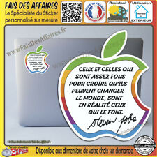 Sticker Autocollant citation STEVE JOBS ipad macbook mac apple macintosh decal