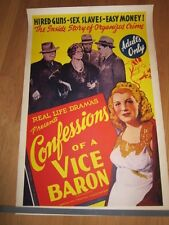 CONFESSIONS OF A VICE BARON 1943  Bad girl Film Noir sex slaves Linen backed
