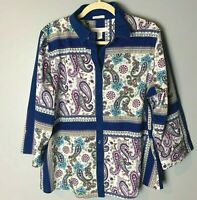 Chico's Women's Top Size 2 (Large, 12) Shirt Blouse 3/4 Sleeves Paisley Cotton