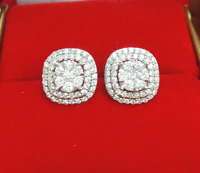 Steal Deal! 1.00CT Natural Diamond Cluster Halo Stud Earrings 10KT 11 MM