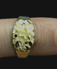 Brand New 10K Yellow Gold Diamond Cut Oval Nugget Ring All Sizes
