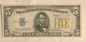 1935-a  $5  North Africa ,silver certificate  AU / CU