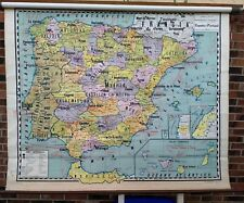 Rare Vintage Spain Portugal 1942 Pull Down School Map in Spanish Denoyer Español