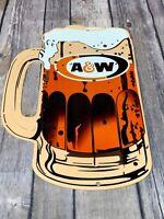 "VINTAGE A & W ROOT BEER ADVERTISING 12"" METAL MUG SODA POP GASOLINE & OIL SIGN"