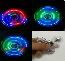 Lot of 10 Transparent Crystal LED Fidget Hand Spinner Rainbow Finger / wholesale