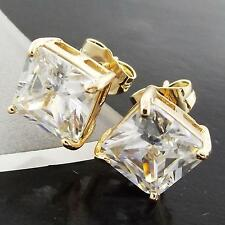 STUD EARRINGS REAL 18 K YELLOW G/F GOLD DIAMOND SIMULATED UNISEX MEN'S DESIGN