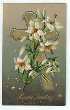 """Vintage Postcard """"Easter Greeting"""" Gold Cross Embossed Lilies 370 Unposted"""
