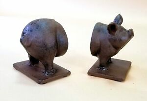 Pig Hog Cast Iron Heavy Bookends Book Ends Library Holders country decor shabby