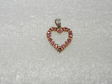 STERLING SILVER WITH 16 NATURAL RUBIES HEART NECKLACE PENDANT N650-F