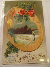Antique 1912 Embossed Post Card w/Plastic Sleeve & Franklin Stamp Nice Condition