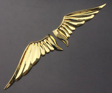 Pair Golden Metal Angel Wings Auto Car Motorcycle Emblem Badge Decal Sticker