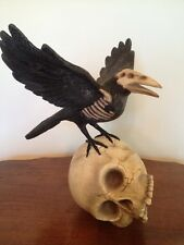 Bethany Lowe Halloween Haunted Raven on a Skull--retired