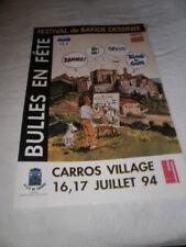 FERRANDEZ. Affiche 1° Festival BD CARROS (06) 1994 avec pastiches Tintin & Milou