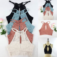 Women Lace Floral Bralette Bralet Bra Bustier Padded Crop Top Cami Tank Tops New