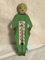 Green ART DECO Vintage 1920s FLAPPER French GIRL Celluloid Figural THERMOMETER