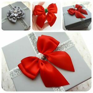 Christmas bows double satin bows pre-tied ready made stick on bows red green