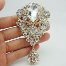 Bride Unique Flower Drop Gold-plated Brooch Pin Pendant Clear Rhinestone Crystal