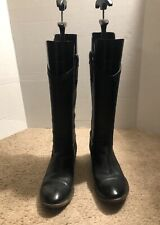 Frye Carson Boots 8 B Women's Black Leather Western Mid Calf Pull On 77687