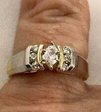 14k Yellow Gold Vintage Diamond Marquise Ring with Side Diamonds ~ .38TCW