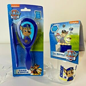 PAW Patrol Nickelodeon Lot of 2 Policeman Chase 5 Oz. Bottle, Comb/Brush Combo