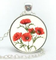 "Silver plated 18"" chain and pendant necklace with glass cabochon POPPIES"