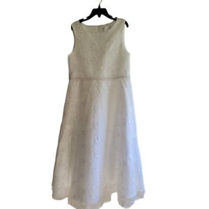 Lavender Girls A-Line Dress White Floral Embroidered Sleeveless Tie Back Scoop 8