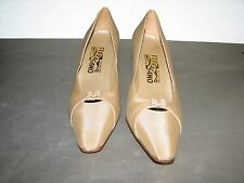 $399 New Salvatore Ferragamo Women Beige Satin Heels Shoes 10 2A